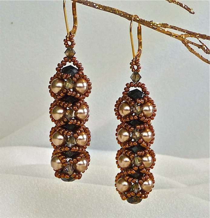 Bright Gold and Bronze Embassy Earriings rs