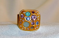 Gold tone Multi-coloured Swarovski Ring2