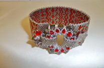 Garnet and Platinum Bead Cuff