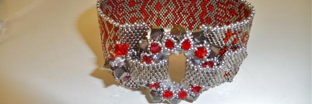 Garnet and Platinum Bead Cuff