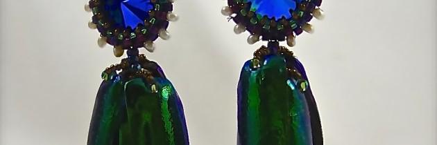 African Beetle Wing Earring