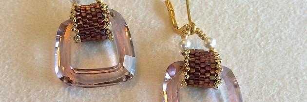 Light Amethyst Cosmic Square Earrings