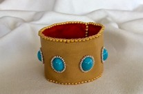 Swarovski Turquoise Leather Cuff