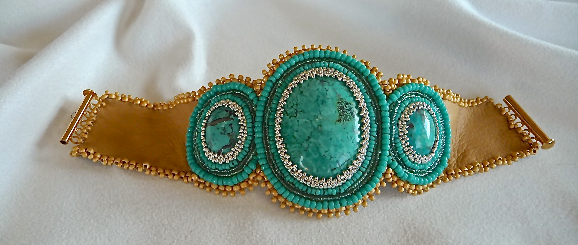 Turquoise Embroidered Leather Cuff
