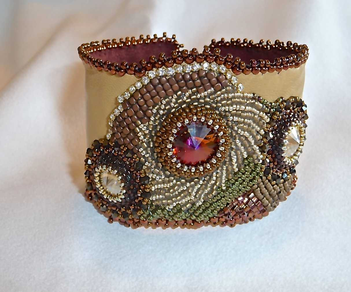 Embroidered Swarovski on Leather Cuff
