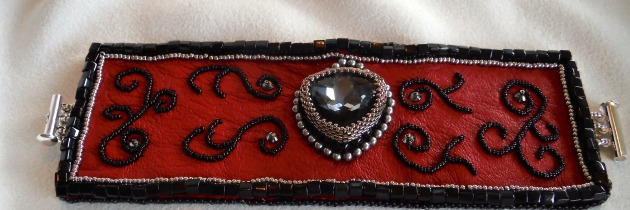 Red Leather Embroidered Cuff