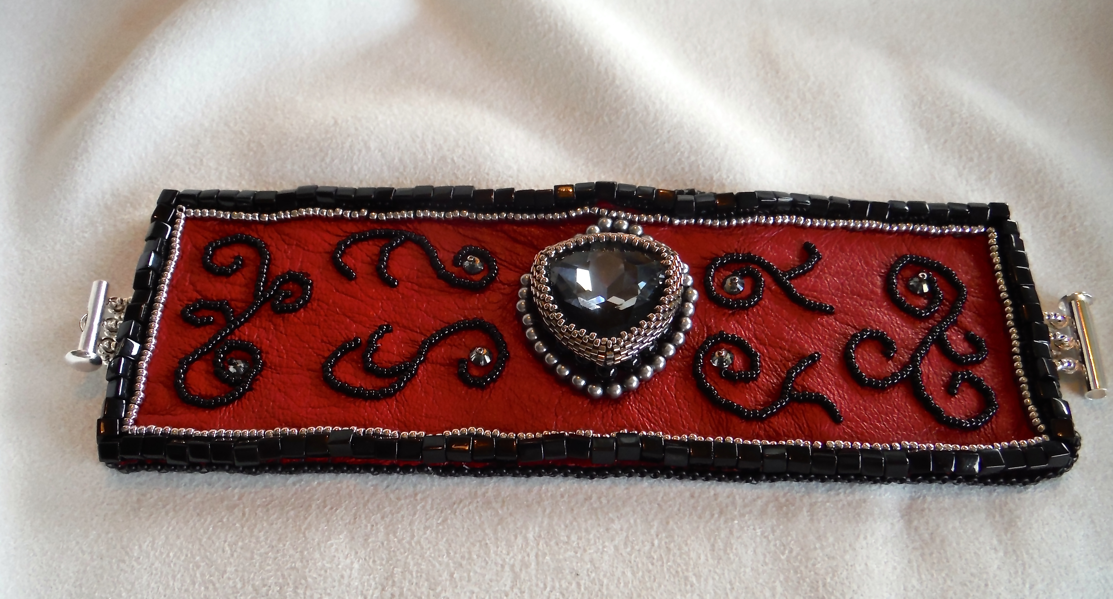 Red Embroidered Leather Cuff