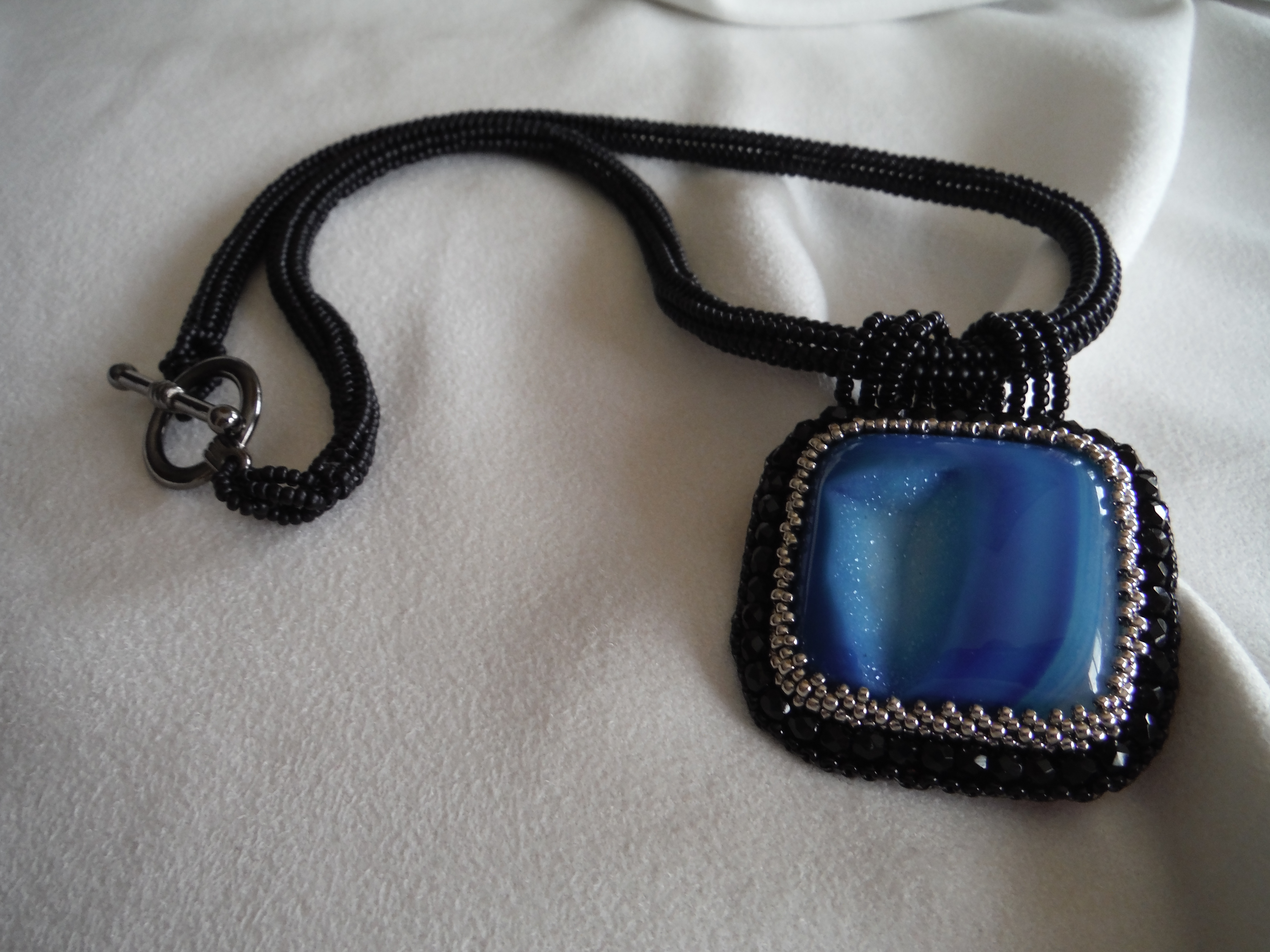 Blue Embroidered Druzy Agate