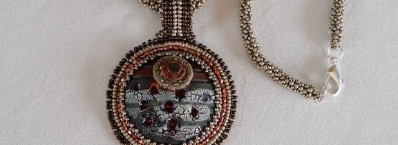 Embroidered Raku Pendant