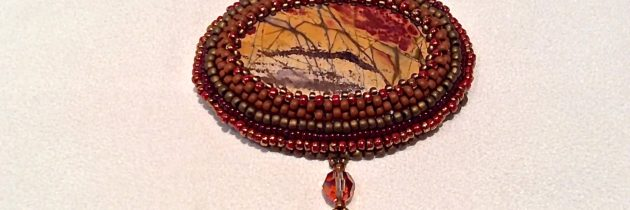 Red Jasper Embroidered Stone
